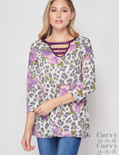 Load image into Gallery viewer, Curvy Gal Leopard Flower Top - Purple
