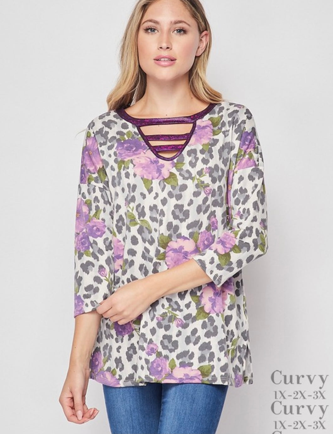 Curvy Gal Leopard Flower Top - Purple