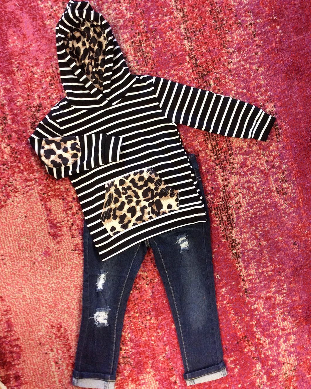 Girls Leopard and Striped Hoodie