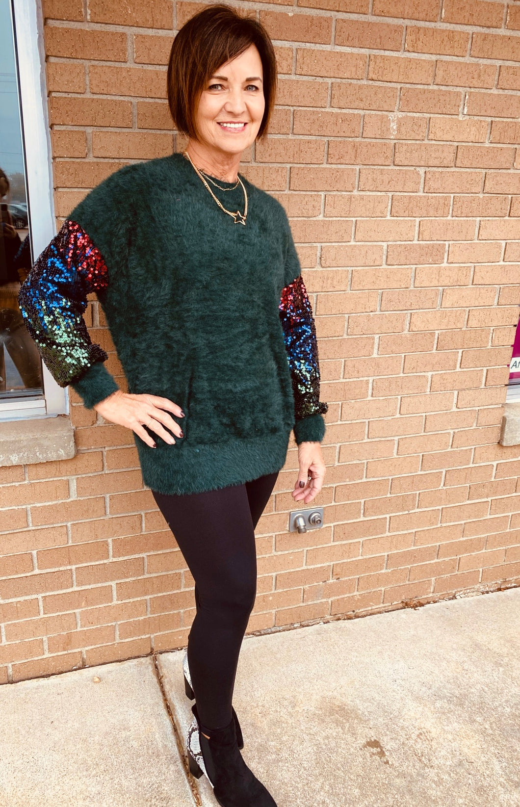 Soft Sequin Sweater - Green