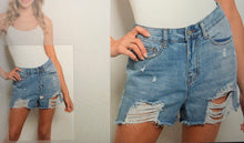 Load image into Gallery viewer, Juniors Distressed Jean Shorts
