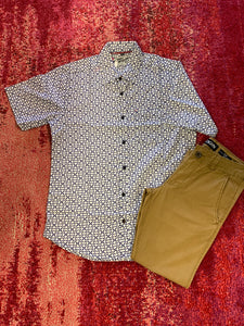 Men's Short Sleeve Button Up- Ivory and Navy Printed