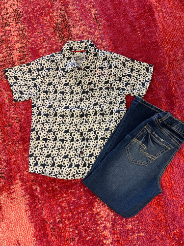 Boys Short Sleeve Button Up -Navy with Floral Design Print