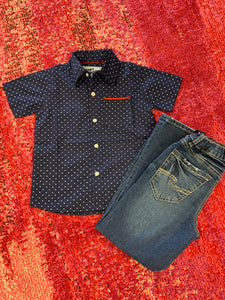 Boys Short Sleeve Button Up -Navy with Print