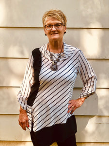 Asymetrical Striped Tunic with Cowl Neck