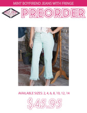Load image into Gallery viewer, Mint Boyfriend Jeans With Fringe