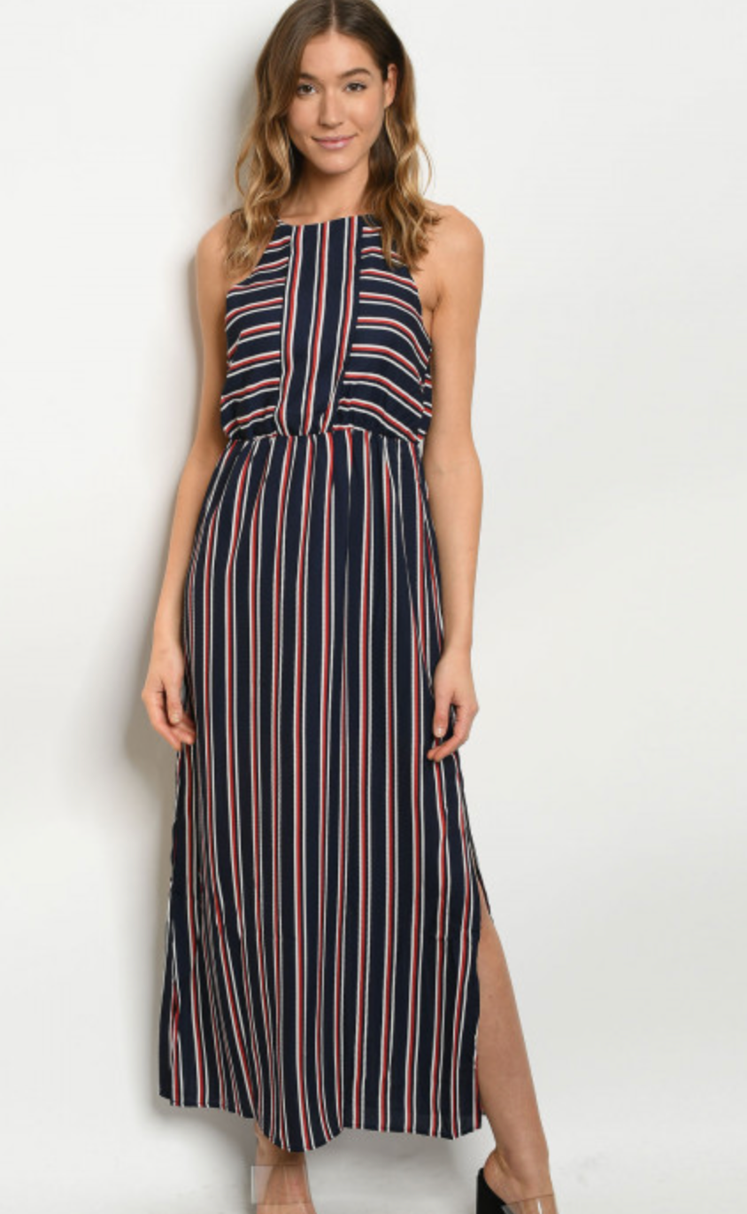 Navy and Red Striped Maxi Dress