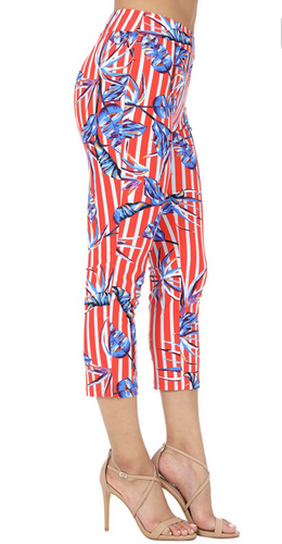 Printed Red and White Striped Capri Pant