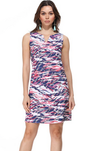 Navy and Pink Tiger Scratch V Neck Dress