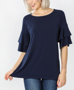Curvy Gal Basic Ruffled Sleeve T in Navy