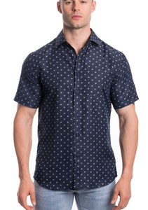 Men's Short Sleeve Button Up - Navy Printed