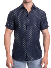 Load image into Gallery viewer, Men's Short Sleeve Button Up - Navy Printed