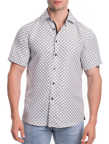 Men's Short Sleeve Button Up - White and Black Printed