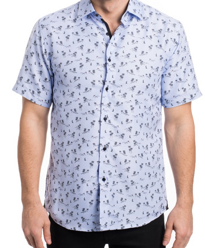 Men's Short Sleeve Button Up - Printed Tropical Blue