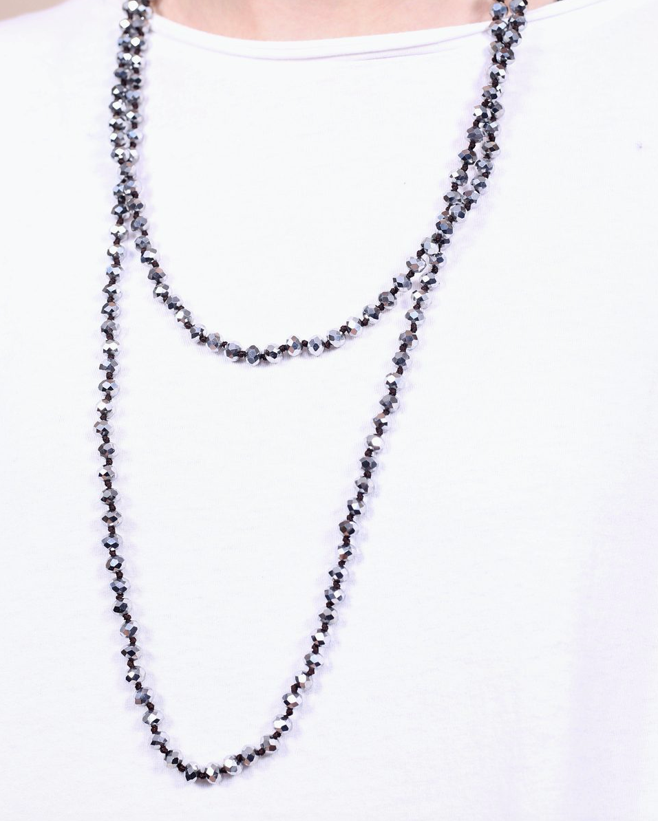Lyndon Long Glass Bead Wrap Necklace Silver