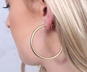 Arden Satin Metal Post Hoop Gold