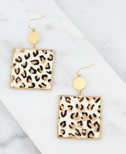 Remmi Square Animal Print Fish Hook Earring Ivory Leopard