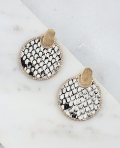 Hawlston Round Cz Lined Animal Print Post Earring Snake Black White