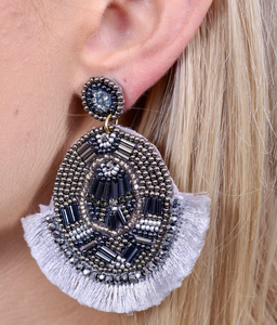 Timley Oval Beaded Post Earring With Fringe Light Gray