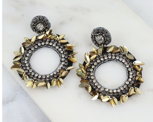 Gatsby Round Sequin Post Earring Black