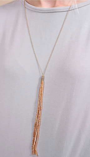 Rory Glass Bead Tassel Necklace Champagne