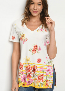 Ivory and Floral V-Neck T-Shirt
