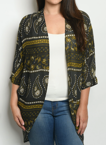 Curvy Gal Black and Yellow Paisley Kimono