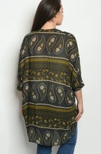 Load image into Gallery viewer, Black and Yellow Paisley Kimono