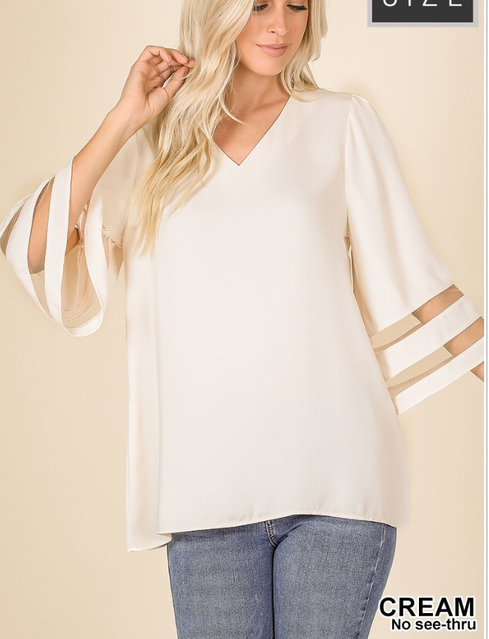 Curvy Gal Wide Sleeve with Mesh Blouse -Cream