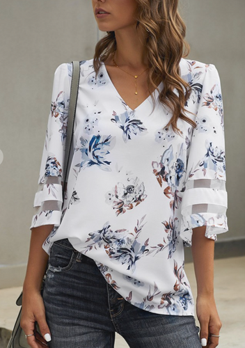 Wide Sleeve with Mesh Blouse-White Print