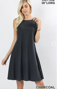 Sleeveless Swing Dress-Charcoal