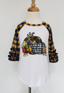 Kids Pumpkin Plaid Top