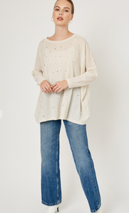Rhinestone Sweater in Oatmeal