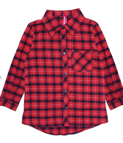Kids Unisex Red and Black Flannel