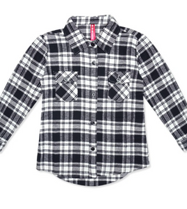 Kids Unisex Black and White Flannel
