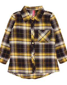Kids Unisex Yellow and Black/Brown Flannel