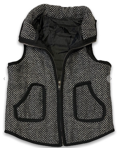 Kids Tweed Printed Puffer Vest