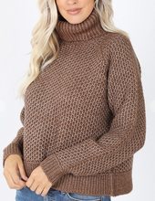Load image into Gallery viewer, Mocha Turtle Neck Sweater