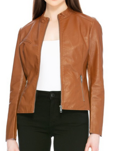 Vegan Leather Jacket - Camel