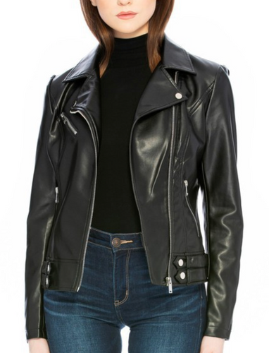 Vegan Leather Motto Jacket - Black
