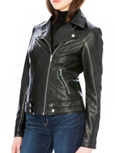Load image into Gallery viewer, Vegan Leather Motto Jacket - Black