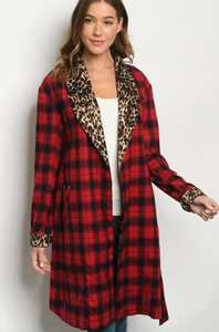 Buffalo Plaid and Cheetah Trench Coat