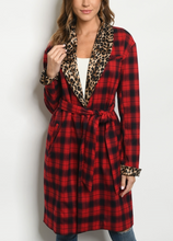 Load image into Gallery viewer, Buffalo Plaid and Cheetah Trench Coat