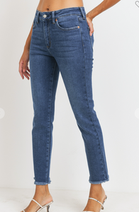 High Rise Dark Wash Skinny Jean with Fray