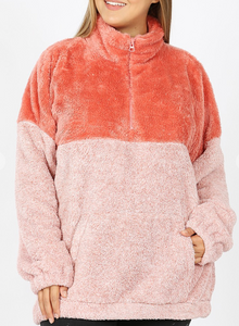 Curvy Gal 2 Toned Sherpa Pull Over - Multiple Colors RESTOCK