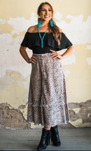 Load image into Gallery viewer, Maxi Leopard Denim Skirt