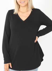 Curvy Gal Basic Long Sleeve VNeck - Charcoal