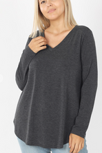 Load image into Gallery viewer, Curvy Gal Basic Long Sleeve VNeck - Charcoal