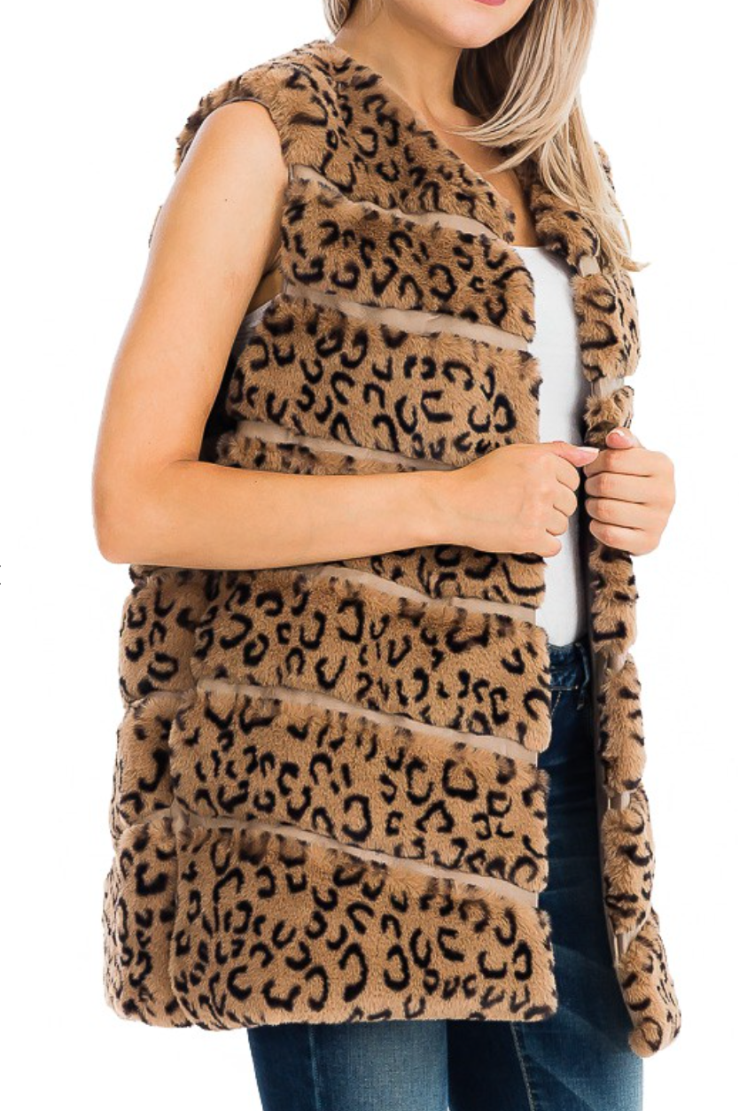 Lux Animal Faux Fur Vest with Faux Leather Lining