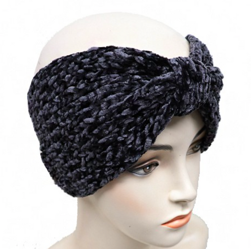 Velvet Ribbed Knit Ear Warmer -Black